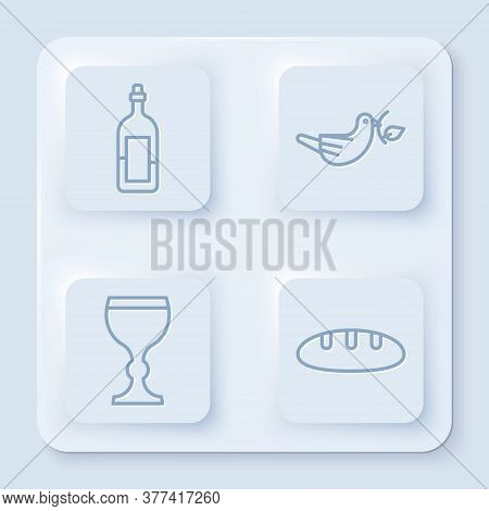 Set Line Bottle Of Wine, Peace Dove With Olive Branch, Wine Glass And Bread Loaf. White Square Butto