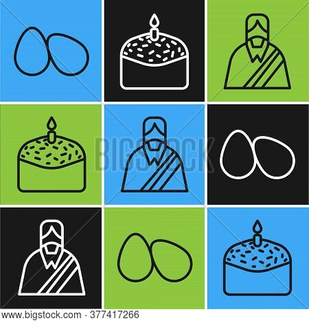 Set Line Easter Eggs, Jesus Christ And Easter Cake And Candle Icon. Vector