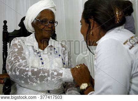 Salvador, Bahia / Brazil - April 12, 2014: Ialorixa Mee Stella De Oxossi Is Seen In The City Of Salv