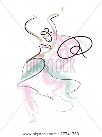 Line Drawing Oriental Dance Performer