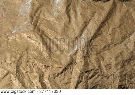 Texture Golden Fabric Reflector, Simple, Crumpled Gold Background.