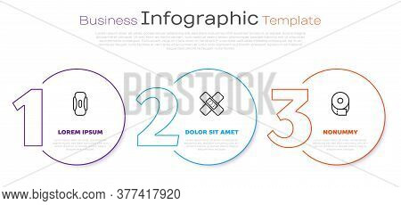 Set Line Sanitary Napkin, Crossed Bandage Plaster And Toilet Paper Roll. Business Infographic Templa
