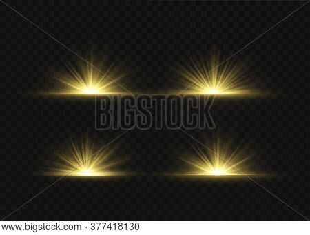 Light Highlight Yellow Special Effect With Rays Of Light And Magic Sparkles. Sun Ray. Glow Transpare