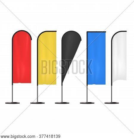 Realistic 3d Detailed Color Blank Expo Banner Flag Template Mockup Set. Vector Illustration Of Mock