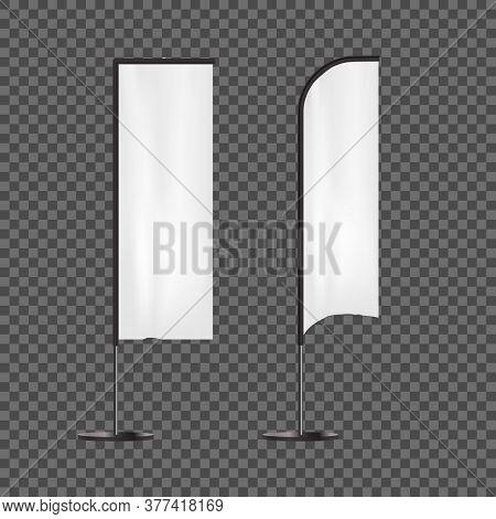 Realistic 3d Detailed White Blank Expo Banner Flag Template Mockup Set For Marketing. Vector Illustr