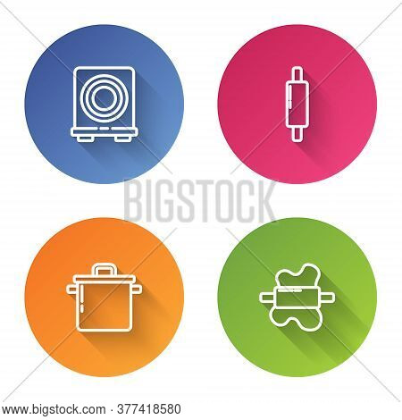 Set Line Electric Stove, Rolling Pin, Cooking Pot And On Dough. Color Circle Button. Vector