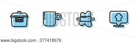 Set Line Rolling Pin On Dough, Slow Cooker, Coffee Cup And Chef Hat With Location Icon. Vector