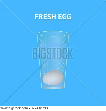 Realistic 3d Detailed Fresh Egg With Transparent Glass And Water On A Blue. Vector Illustration Of F