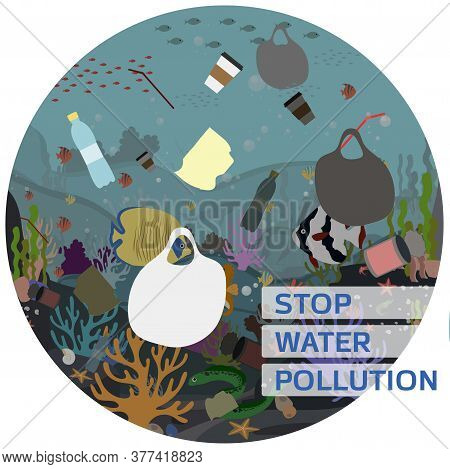 Flat Vector Illustration For Protecting Water And The Environment From Pollution. A Picture Of The U