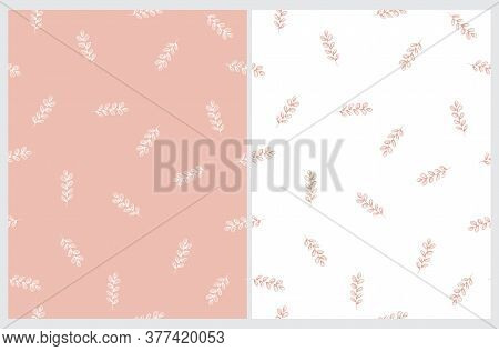 Abstract Freehand Twigs Seamless Vector Pattern. Pink Twigs On A White Background. White Sprig On A