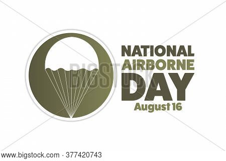 National Airborne Day. August 16. Holiday Concept. Template For Background, Banner, Card, Poster Wit