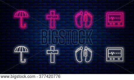 Set Line Christian Cross, Dead Body, Umbrella And Beat Dead In Monitor. Glowing Neon Icon On Brick W