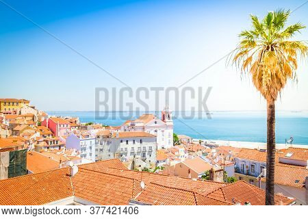 View Of Alfama Old Town At Sunny Day, Lisbon, Portugal With Sunshine