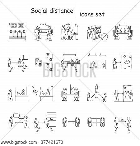 Social Distance Icons Set.corona Virus Pandemic Safety Recommendations And Regulations Linear Pictog