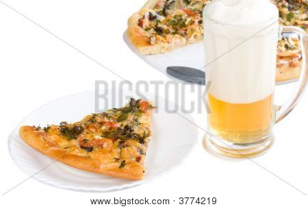 Piece Of Pizza With Forest Mushrooms And Beer