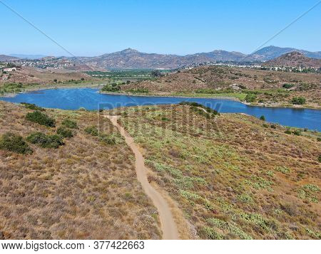 Aerial View Of Of Trail In The Lake Hodges And Bernardo Mountain, Great Hiking Trail And Water Activ