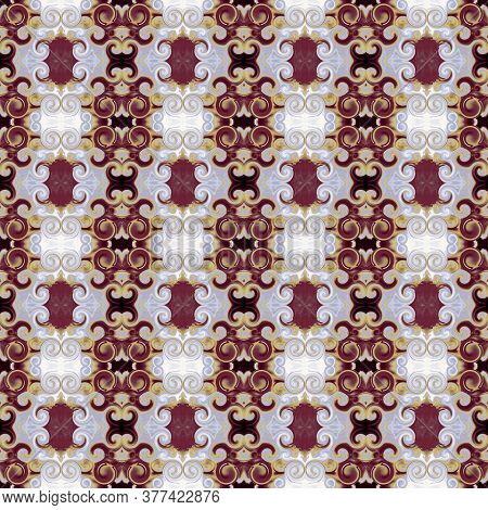 Royal Ornament With Scrollworks And Circle Motifs. Bordo, Gold, Gray Colored Seamless Pattern. Styli