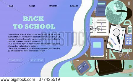 Online Store Selling School Supplies With Home Delivery. Vector Illustration Of A Website On A Lapto