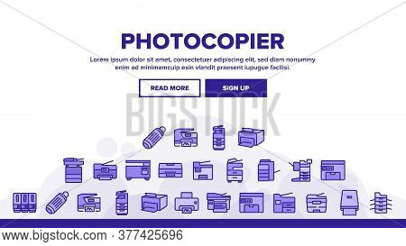 Photocopier Device Landing Web Page Header Banner Template Vector. Professional Photocopier And Scan