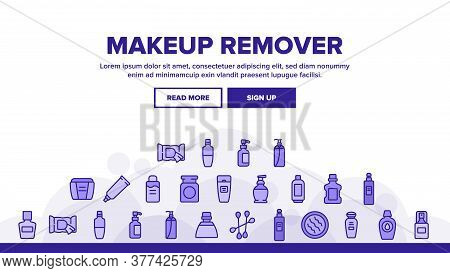 Makeup Remover Lotion Landing Web Page Header Banner Template Vector. Cosmetic Makeup Remover Cotton