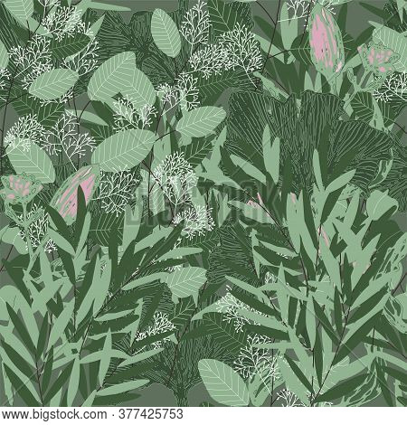 Jungle Seamless Vector Pattern. Greenery Beautiful Abstract Print. Tropical Jungle Illustration. Gre