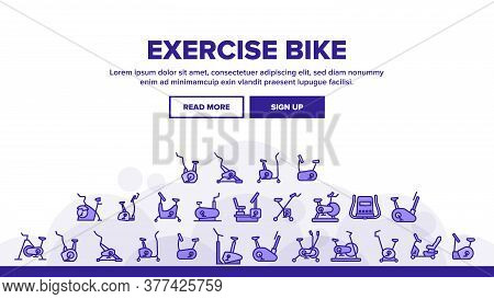 Exercise Bike Sport Landing Web Page Header Banner Template Vector. Bike Sportive Equipment, Gym And