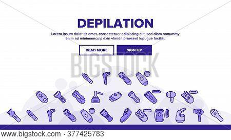 Depilation Equipment Landing Web Page Header Banner Template Vector. Epilator Depilation Electronic