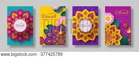 Diwali, Festival Of Lights Holiday Cards With Paper Cut Style Of Indian Rangoli, Diya - Oil Lamp And