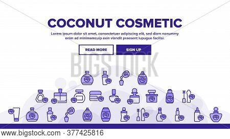 Coconut Cosmetic Pack Landing Web Page Header Banner Template Vector. Coconut Cream Packaging Bottle