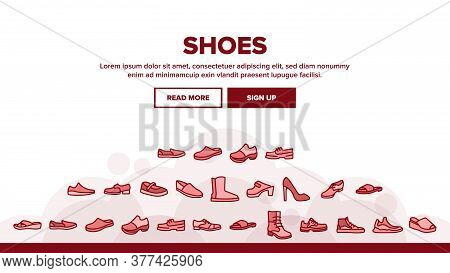 Shoes Footwear Shop Landing Web Page Header Banner Template Vector. Different Shoes Sneaker And Mocc