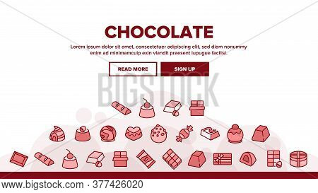 Chocolate Sweet Food Landing Web Page Header Banner Template Vector. Chocolate Candy And Cake, Pie W
