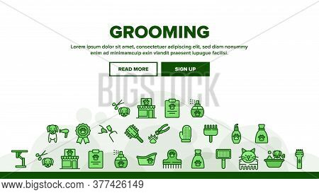 Grooming Animal Tool Landing Web Page Header Banner Template Vector. Equipment For Grooming Pet Claw