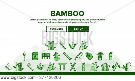 Bamboo Nature Plant Landing Web Page Header Banner Template Vector. Bamboo Material House And Bridge