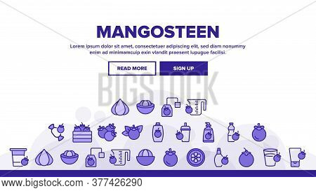 Mangosteen Sweet Fruit Landing Web Page Header Banner Template Vector. Mangosteen Juice And Candy, T