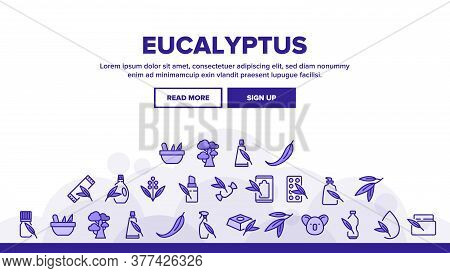 Eucalyptus Herbal Leaf Landing Web Page Header Banner Template Vector. Eucalyptus Candy And Bubble G