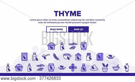 Thyme Plant Product Landing Web Page Header Banner Template Vector. Thyme Branch And Aromatic Herb,