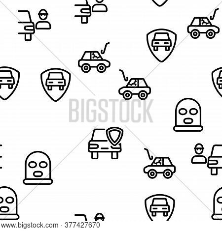 Car Theft Vector Seamless Pattern Thin Line Illustration