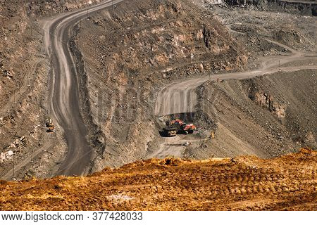 Iron Ore Quarry Excavator And Dump Truck Mining Industry, Mining And Quarrying Equipment, General Vi