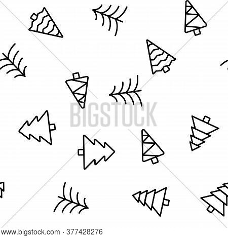 Evergreen Pine Tree Vector Seamless Pattern Thin Line Illustration