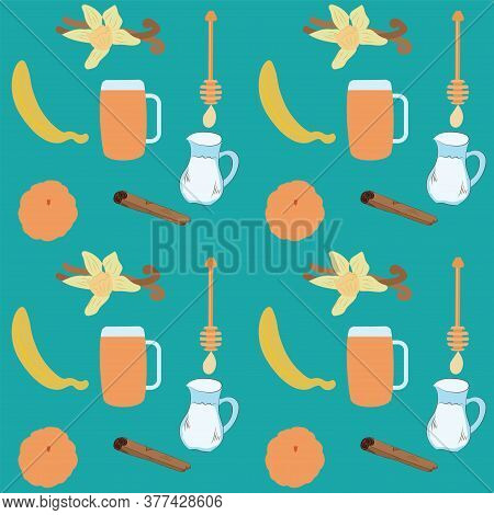 Pattern - Ingredients For Tangerine Cocktail, Peeled Banana, Tangerine, Vanilla, Honey - Vector. Hea