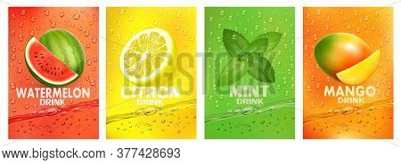 Set Of Labels With Fruit Drink. Fresh Fruits Juice Splashing Together- Watermelon, Citron, Mint, Man