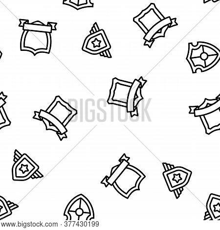 Blazon Shield Shapes Vector Seamless Pattern Thin Line Illustration
