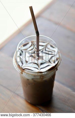 Iced Chocolate Or Iced Cocoa, Mocha On The Table