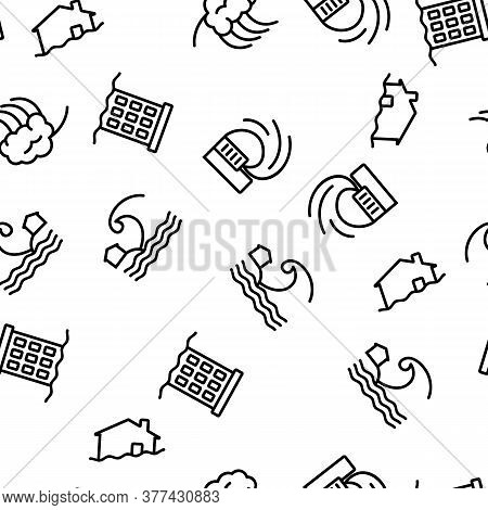 Tsunami Wave Vector Seamless Pattern Thin Line Illustration