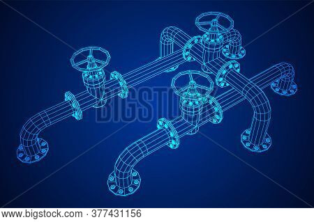 Oil Pipeline With Valve Business Concept. Finance Economy Polygonal Petrol Production. Petroleum Fue