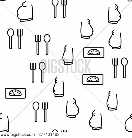 Obesity And Overweight Vector Seamless Pattern Thin Line Illustration