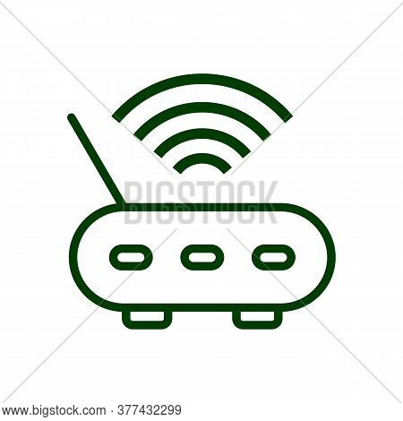 Wi Fi Icon. Drop Shadow Wi Fi Router Icon. Wireless Internet Access Device. Isolated Wifi Black Illu
