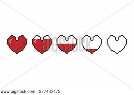 Gaming 8 Bit Health Heart Bar. Pixel Game Controller Life Bar.