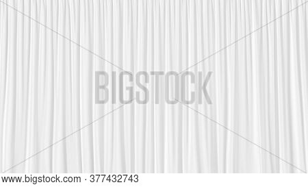 Beautiful White Waving Curtains Abstract 3d Background. White Rippled Silk Cloth Background. Silk Cu