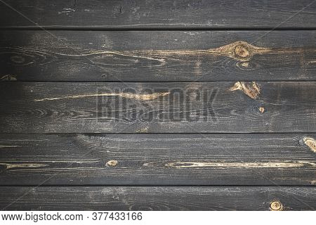 Wood Plank Background. Dark Grain Panel Board Table With Copy Space. Old Floor Wooden Pattern. Timbe